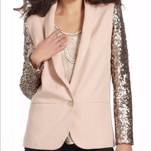 Anthropologie Sequin Sleeve Blazer NWOT 6P